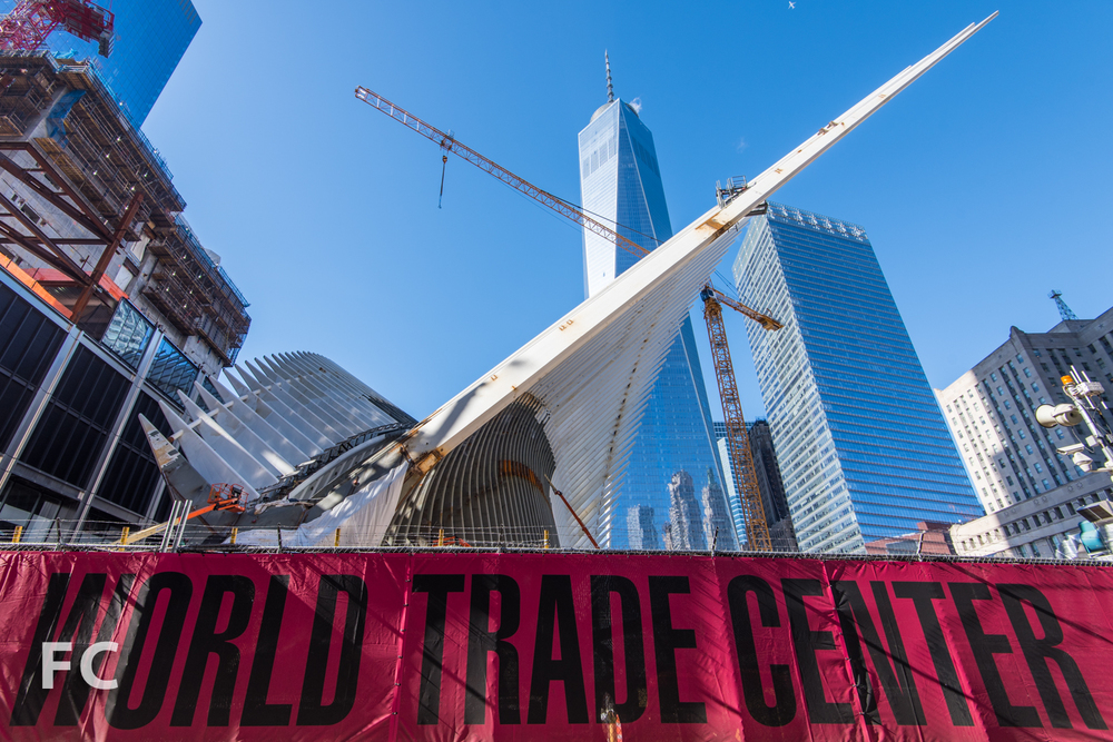 World Trade Center Transit Hub with 1 World Trade Center (behind).