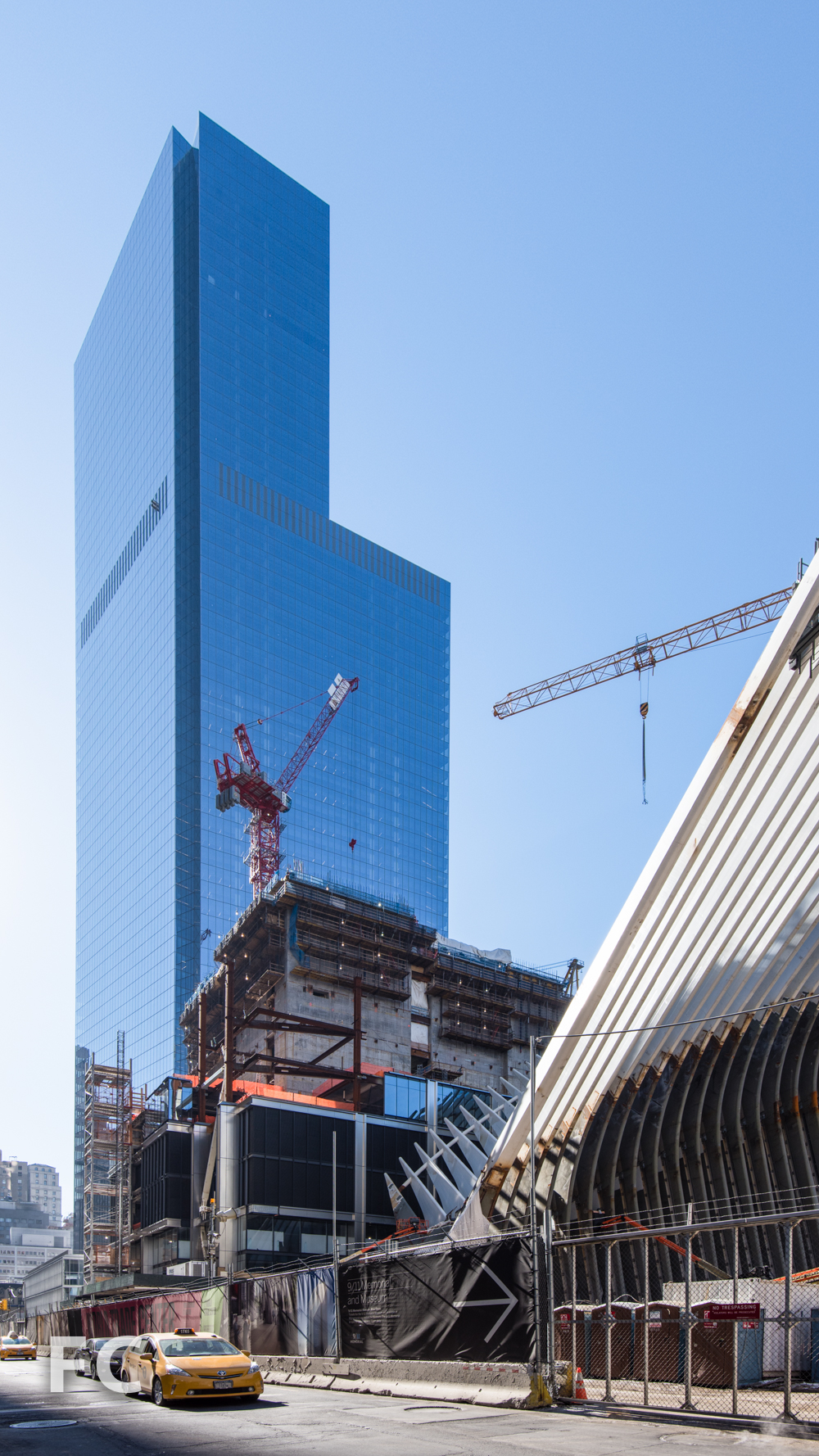 World Trade Center Transit Hub (right), 3 World Trade Center (center), and 4 World Trade Center (left) from Church Street.