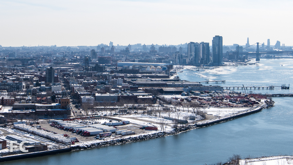 Aerial view of the Greenpoint waterfront.
