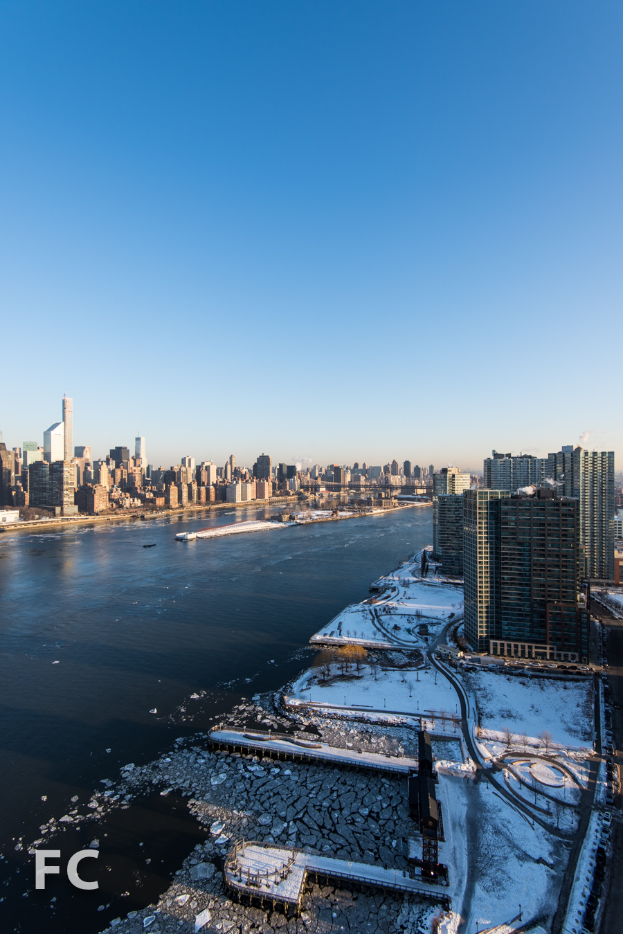 Manhattan skyline and Queens West waterfront from the tower roof of Hunter's Point South Commons.
