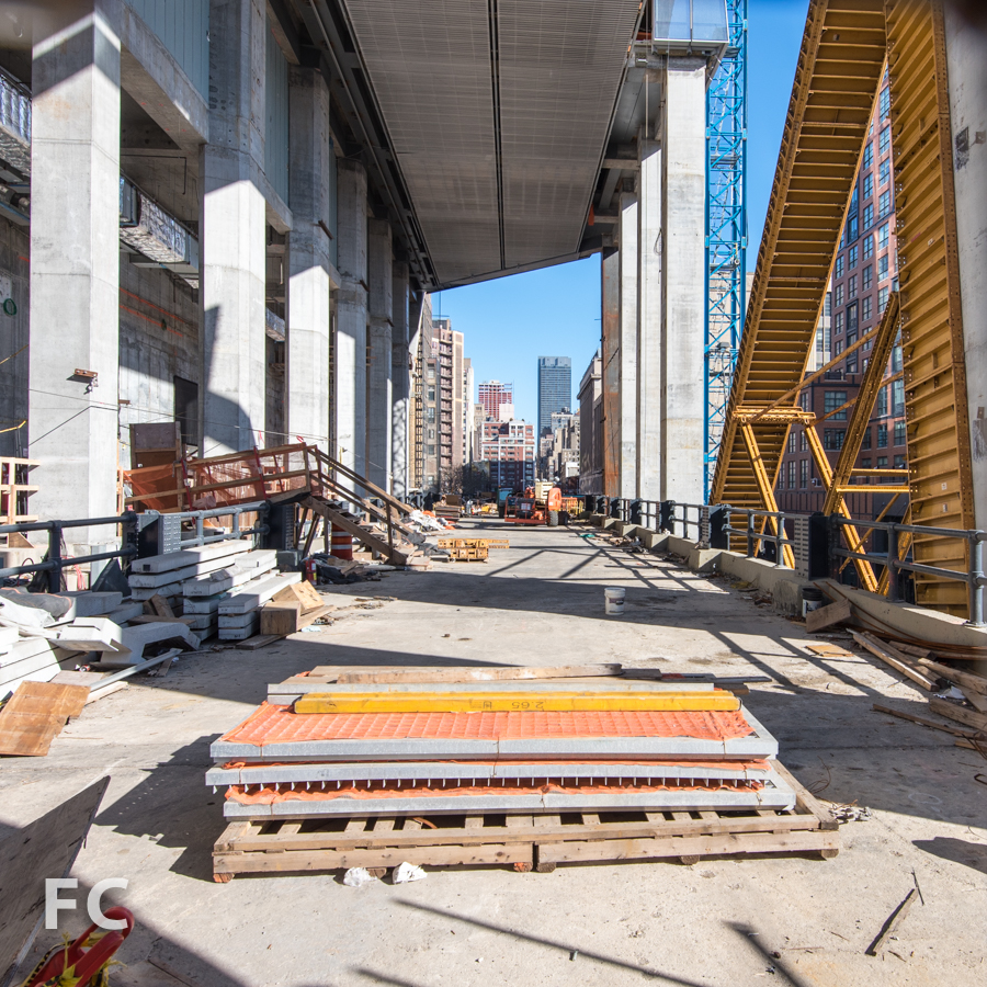 Looking east at the High Line passageway through 10 Hudson Yards.