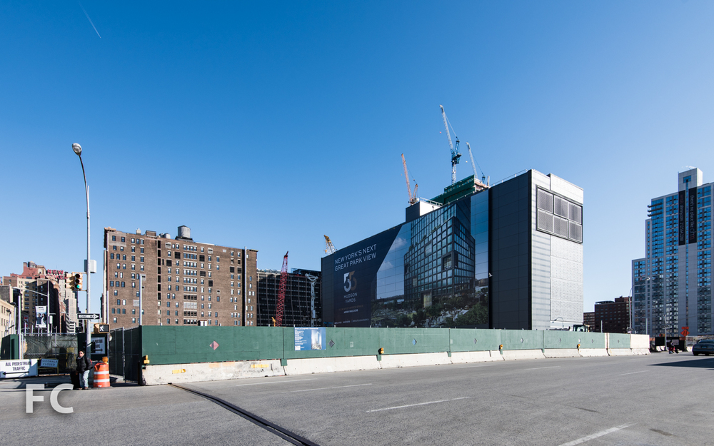 Northwest corner of the construction site for 55 Hudson Yards.