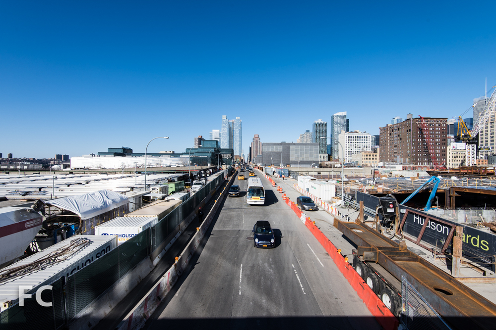 Looking north on 11th Avenue from the High Line park.