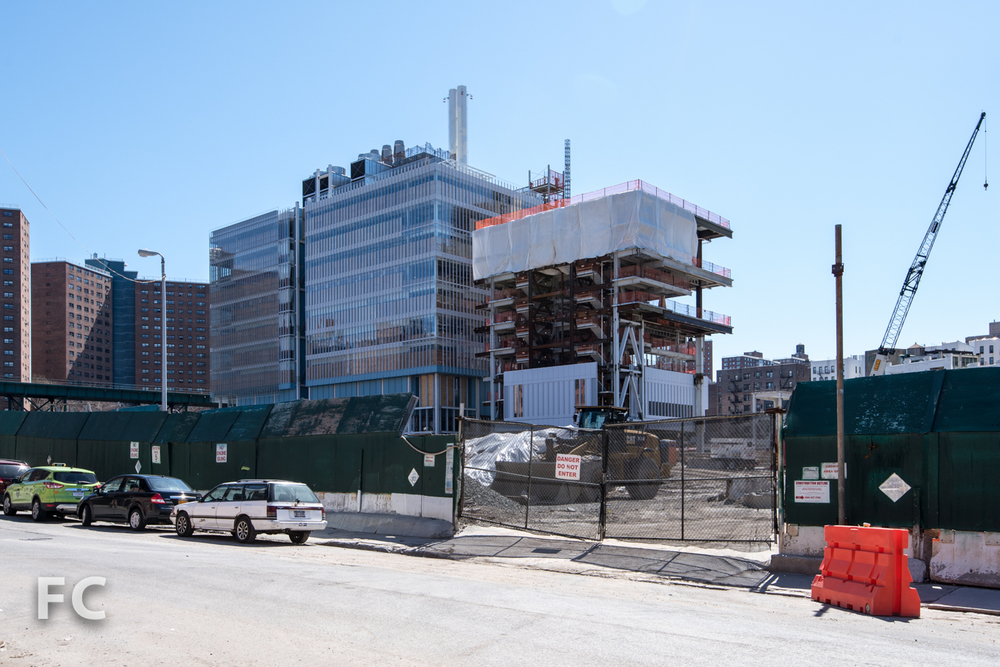 Northwest corner of the Science Center (left) and the Center for the Arts (right) from West 131st Street.