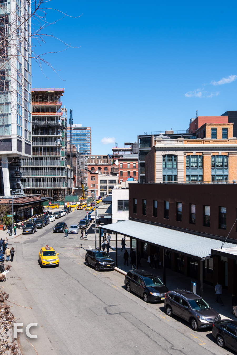 Southeast corner of the Standard Hotel (far left), 860 Washington (left center) and the Caledonia (center) from the High Line park.