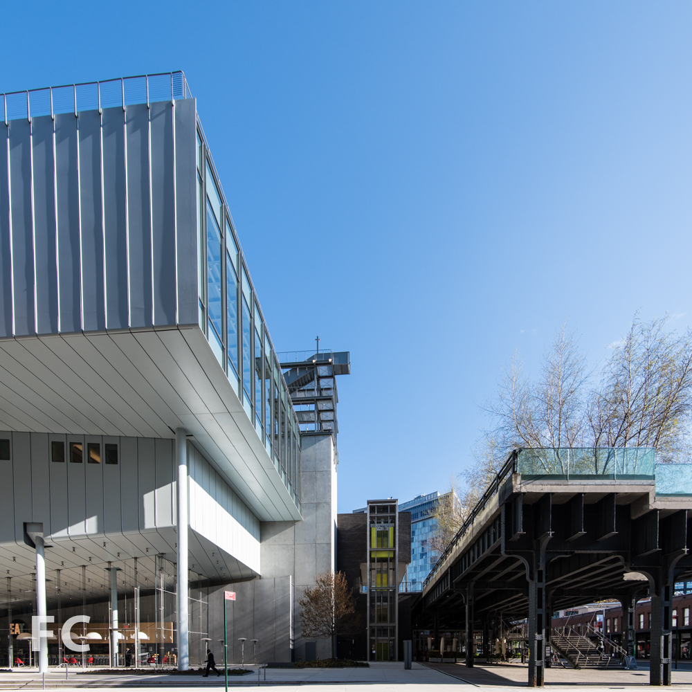 Southeast corner of the Whitney (left) and the southern entrance to the High Line (right).