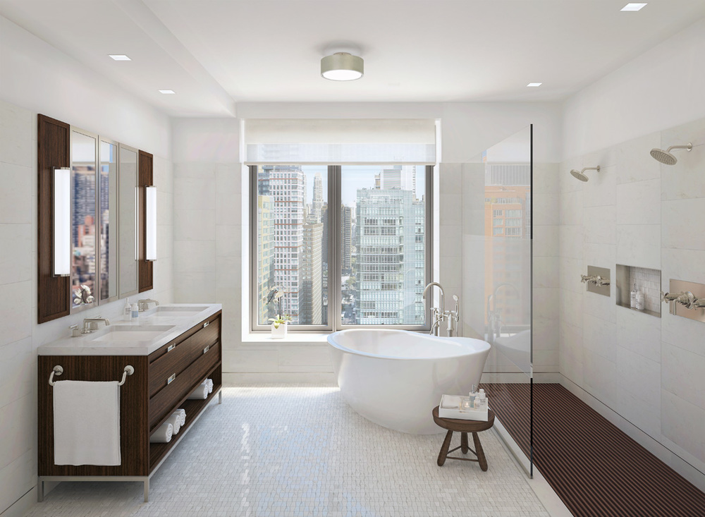 Rendering of the master bathroom. Rendering by Visual Unit Worldwide.
