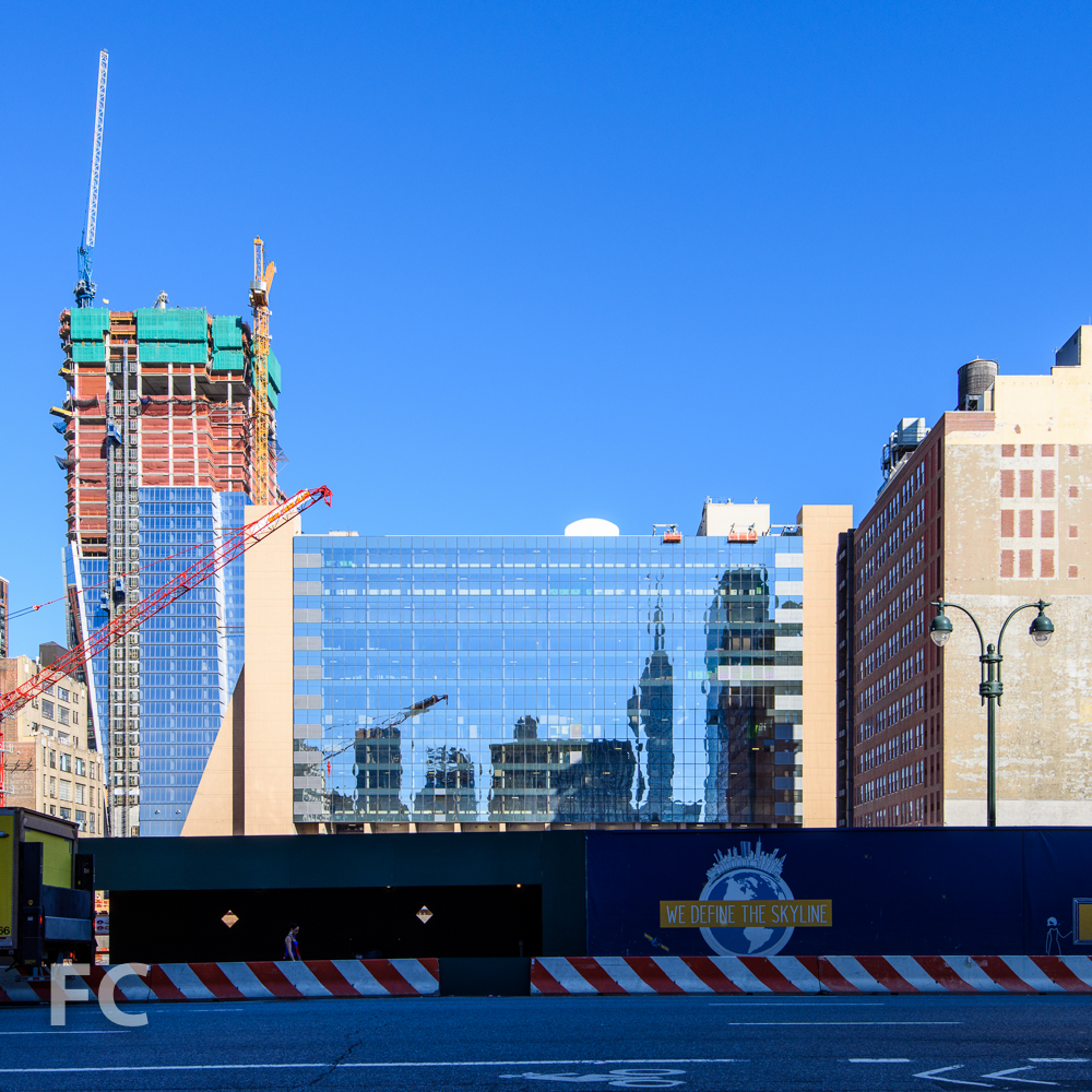 Looking west from Ninth Avenue towards Five Manhattan West (center) and 10 Hudson Yards (left).