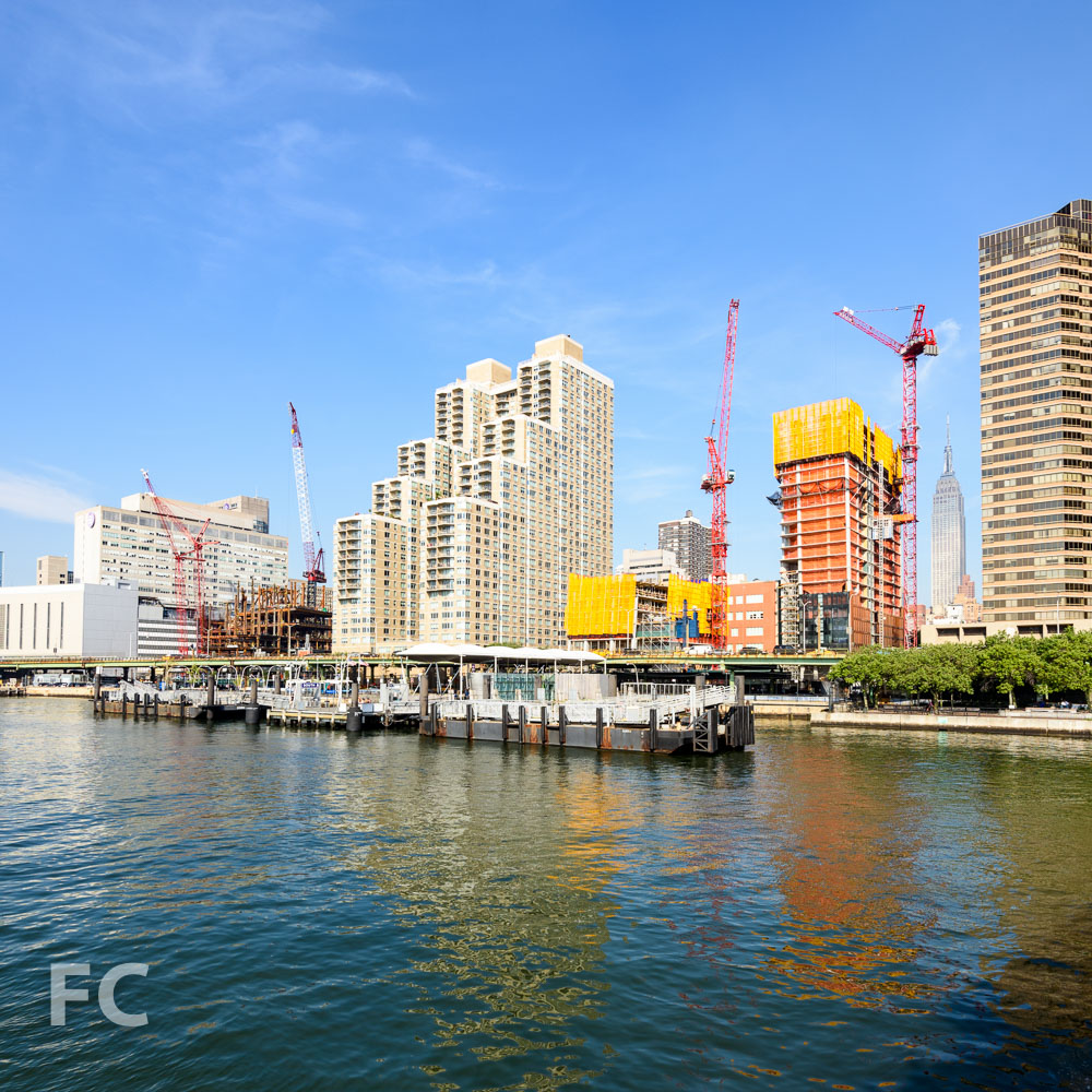 A view of the site from the East River.