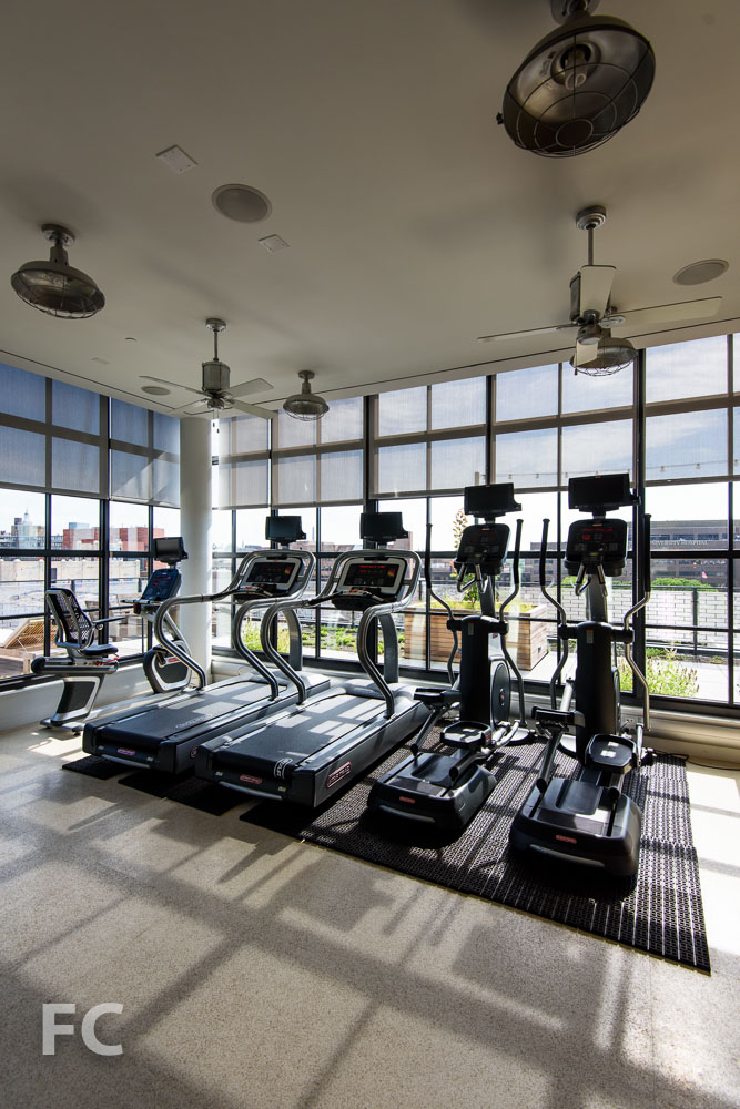 Top floor fitness center.