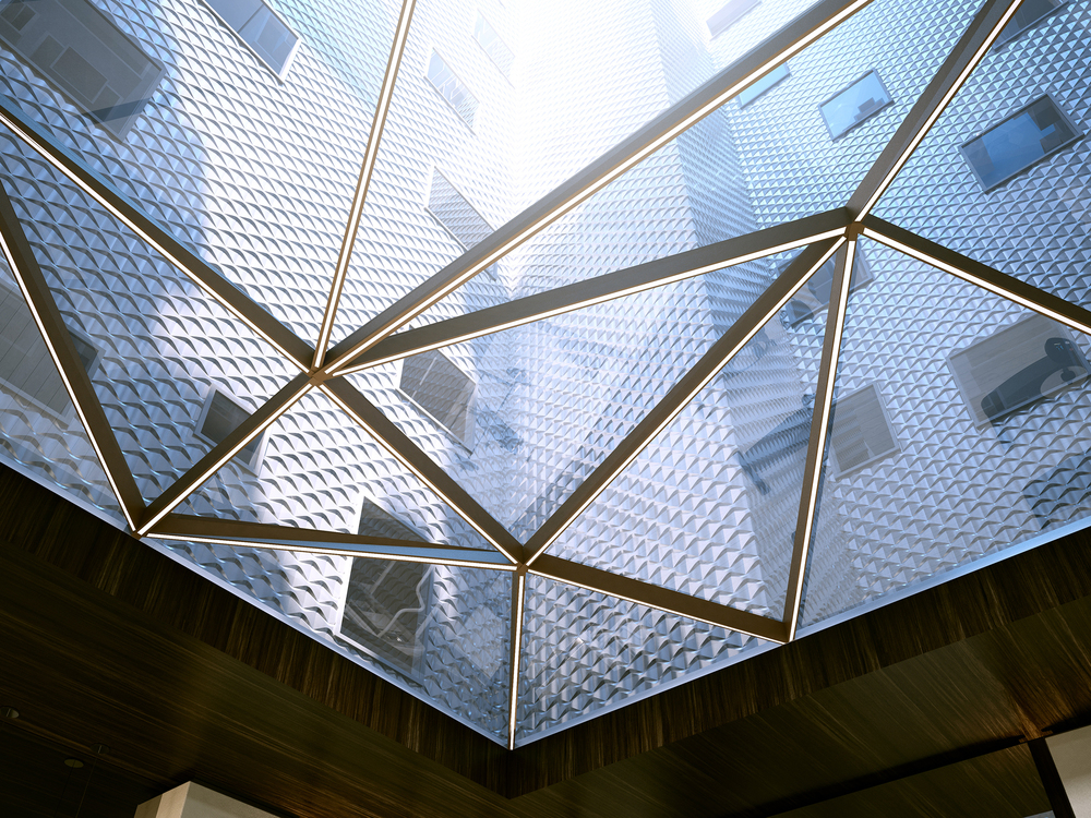 A rendering looking up through the glass enclosure at the base of the courtyard atrium.