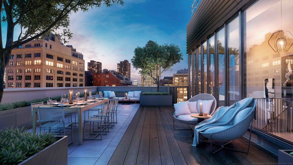 Rendering of the completed rooftop space of the penthouse.