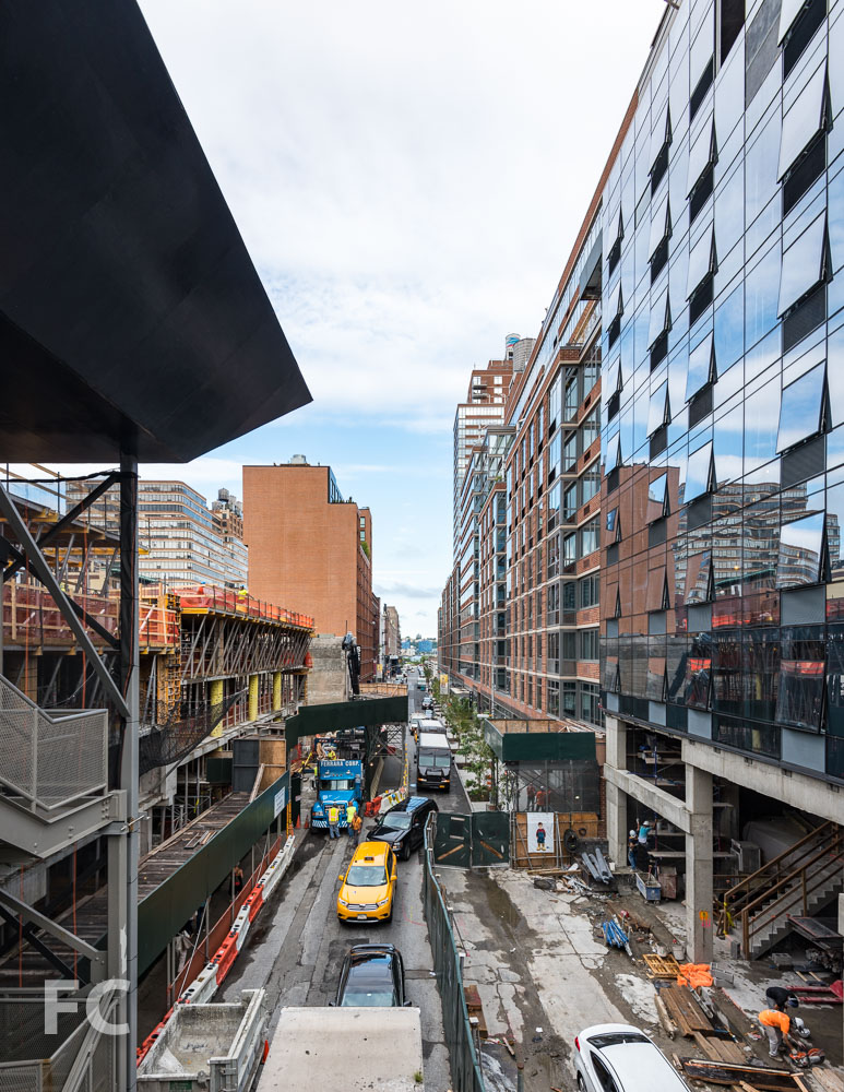 Looking west along West 28th Street from the High LIne with tower three (right) and 520 W 28 (left).