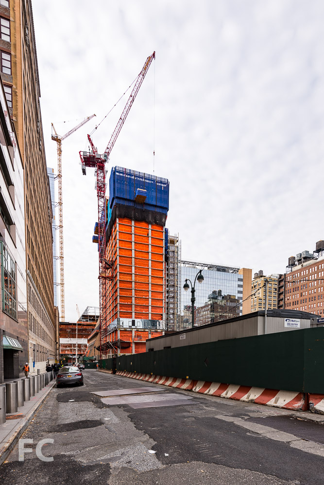 Southeast corner of 401 West 31st Street (left) and 5 Manhattan West (right) from West 31st Street.