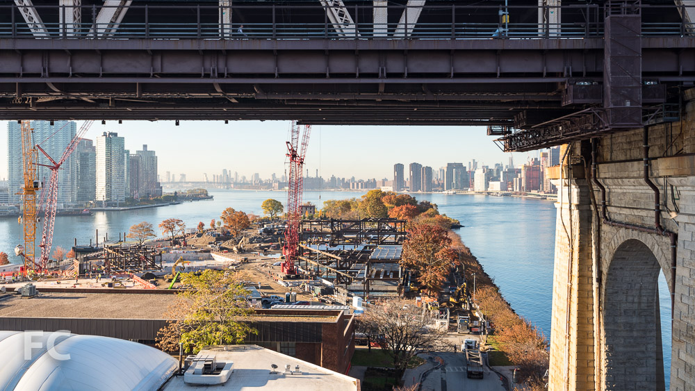 Aerial view of the Phase One campus from the Roosevelt Island tram.