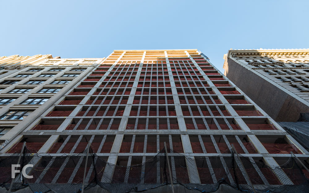 South facade of the West 21st Street tower.