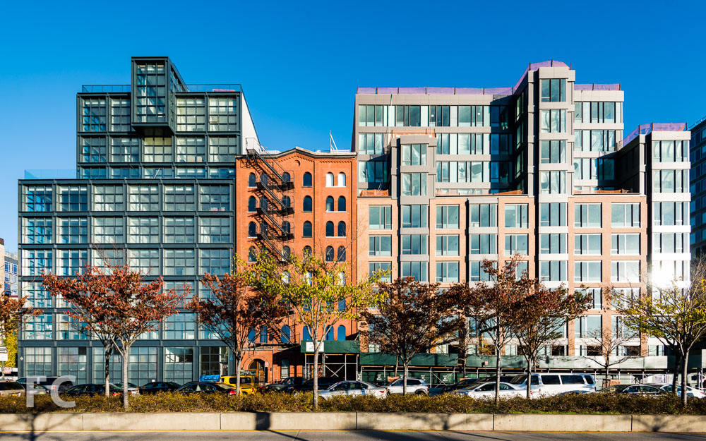 West facade of 290 West Street (left) and 460 Washington Street (right) from the Hudson River Greenway.