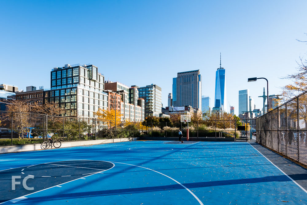 Looking south from Hudson River Park's basketball court at Canal Street.
