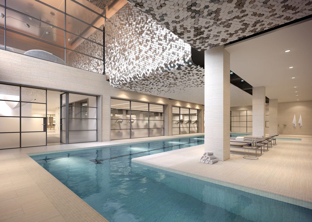 Rendering of the swimming pool with gym beyond.