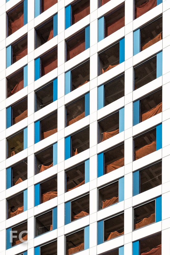 Close-up of the south facade of the phase one tower.