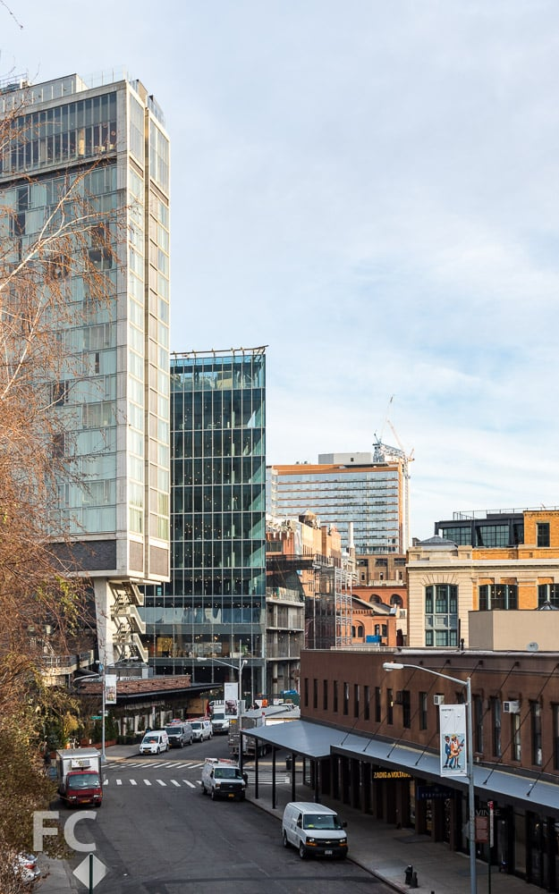 Southeast corner of the Standard Hotel (far left) and 860 Washington (center) from the High Line park.