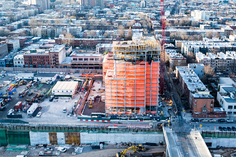 Aerial view of the north facade of 535 Carlton.