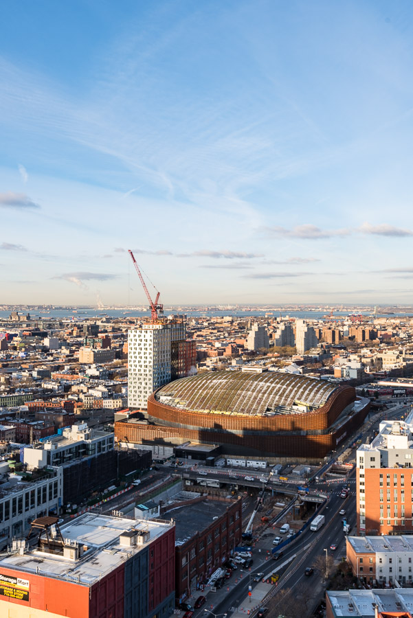 Aerial view of 461 Dean (left) and Barclays Center (right).
