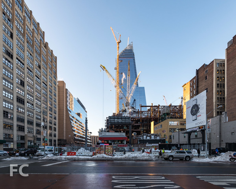 Looking south towards 30 Hudson Yards (foreground) and 10 Hudson Yards (background) from West 34th Street.