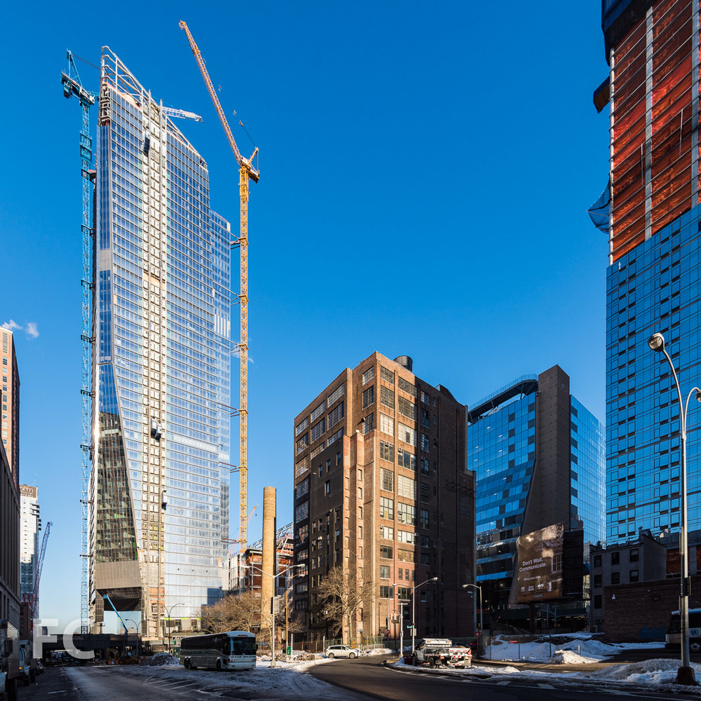 Southeast corner of 10 Hudson Yards and the retail podium from West 30th Street.