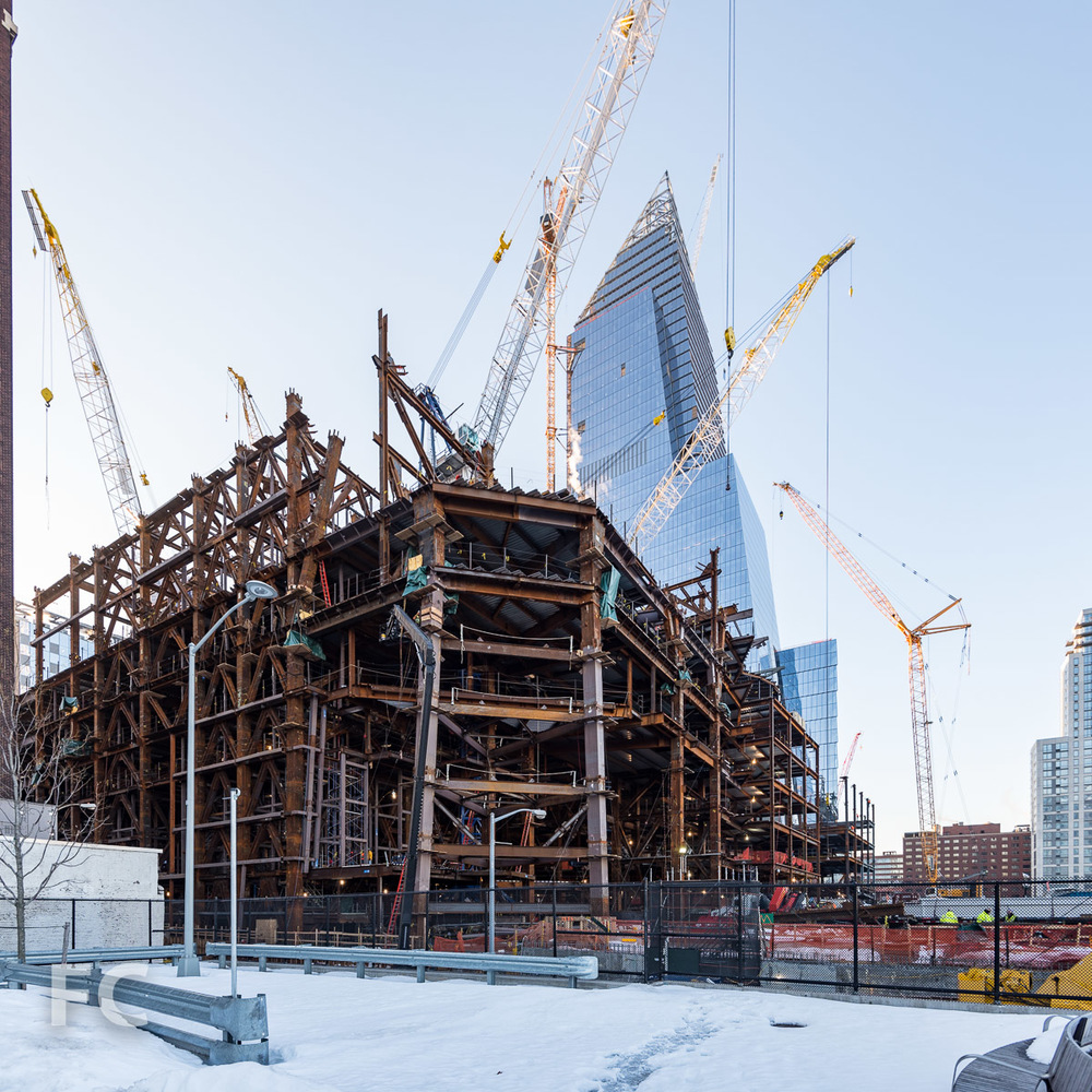 Northwest corner of 30 Hudson Yards (foreground) and 10 Hudson Yards (background) from Hudson Park.