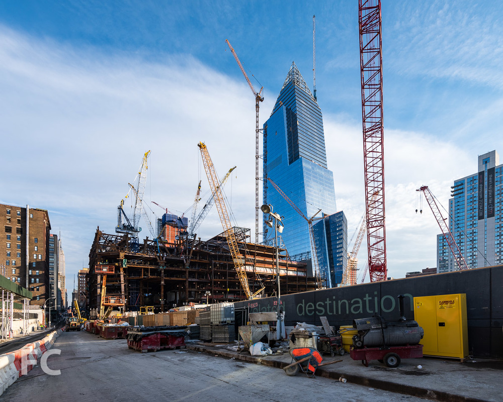 Looking east towards 30 Hudson Yards (left) and 10 Hudson Yards (right) from West 33rd Street.
