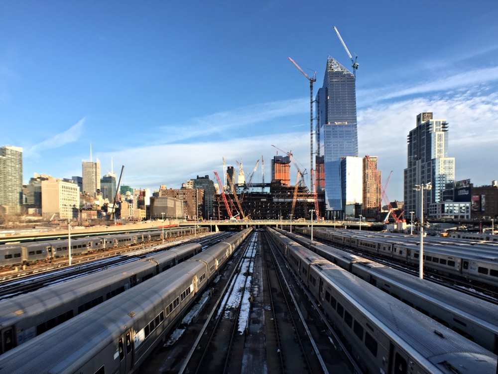 Looking east towards 10 Hudson Yards (right) and 30 Hudson Yards (left) from the High Line.