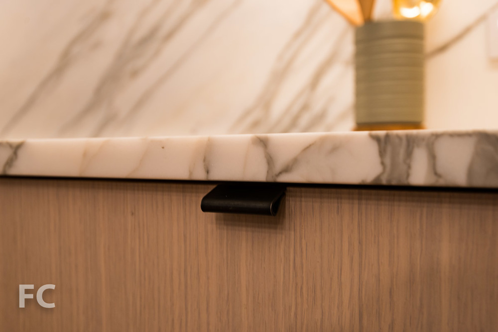 Kitchen cabinet pull detail.