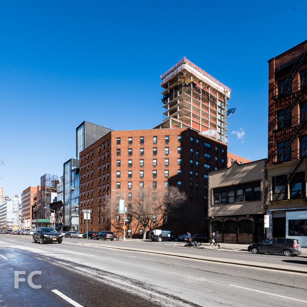 Southwest corner of the tower seen from Bowery.