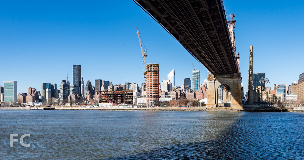 Looking west towards the Cornell Tech Campus (foreground) and the Midtown East skyline.