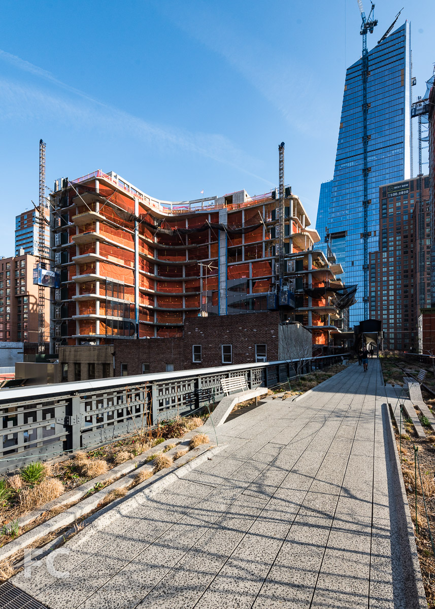 Looking north from the High Line towards 520 W 28 (left), 10 Hudson Yards (right), and 507 W 28 (far right).