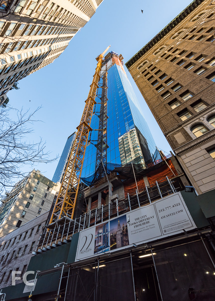 Looking up at the southeast corner of the tower from East 22nd Street.