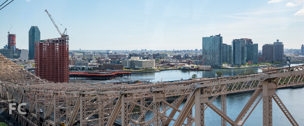 Looking east towards the Cornell Tech campus from the Roosevelt Island Tram.