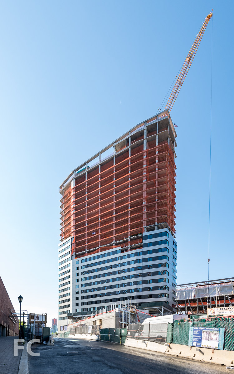 Northwest corner of the residential tower.