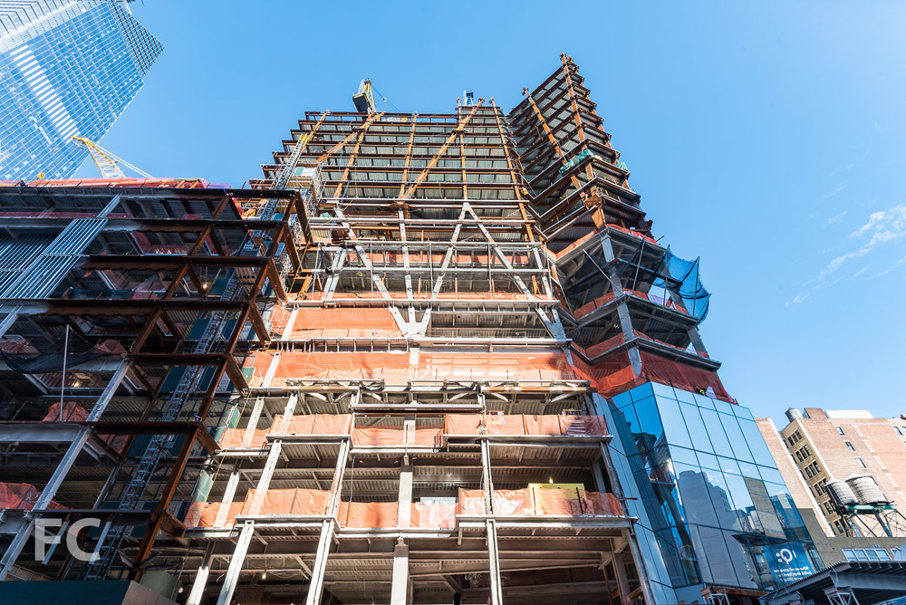 Looking up at the east façade of 30 Hudson Yards.
