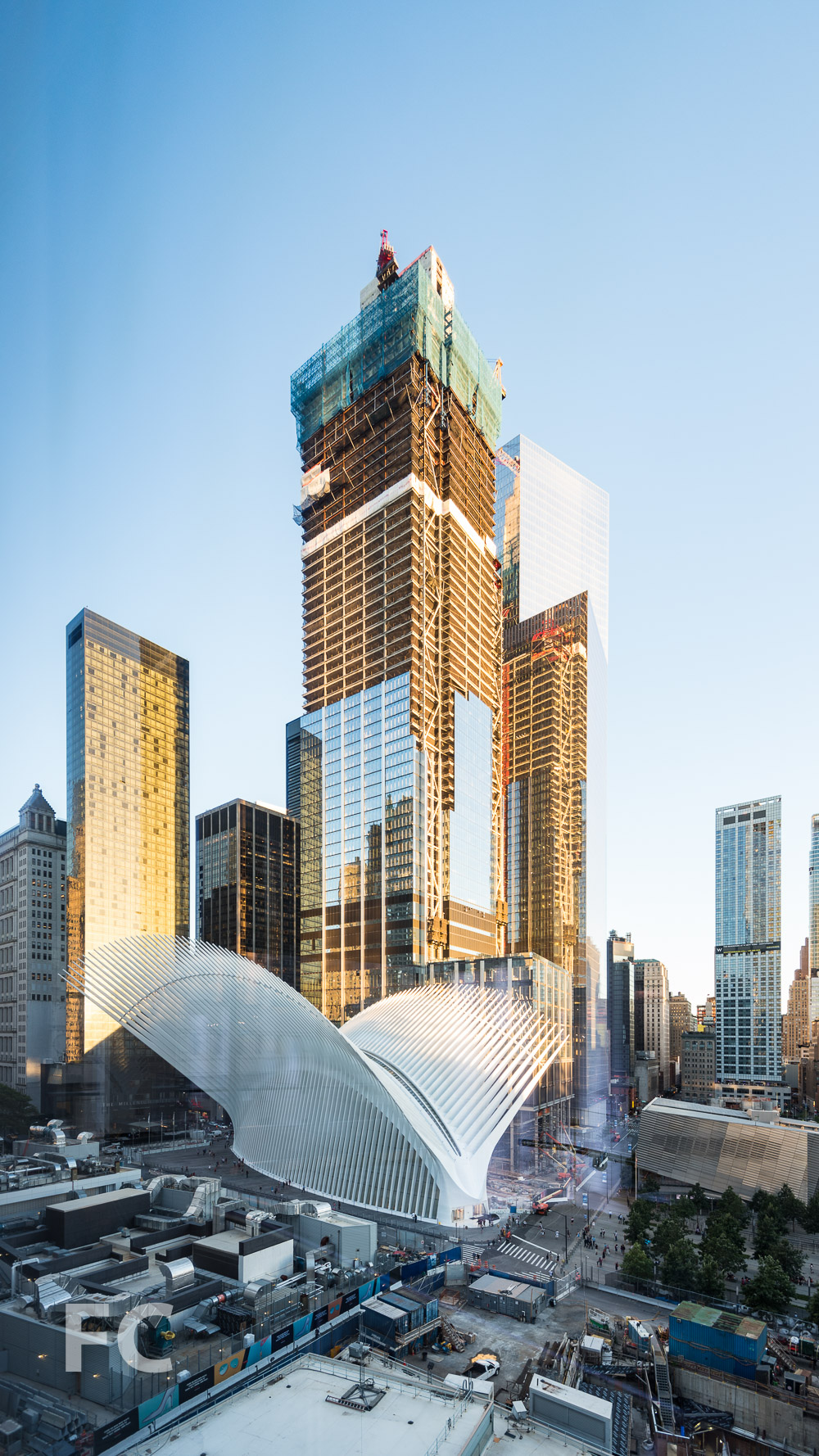 World Trade Center Transportation Hub (foreground), 3 World Trade Center (center), and 4 World Trade Center (background).