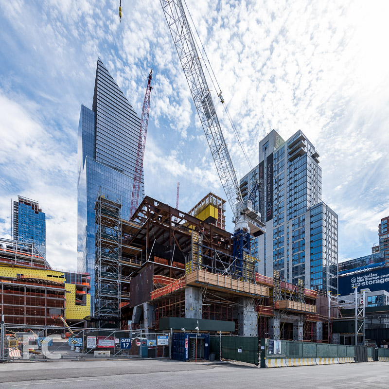 Northwest corner of 15 Hudson Yards (foreground) and The Shed (background).