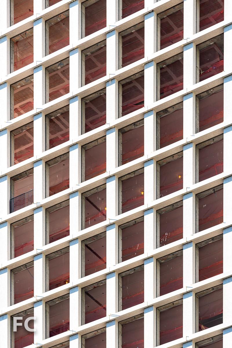 Precast concrete terrazzo cladding at the north facade.