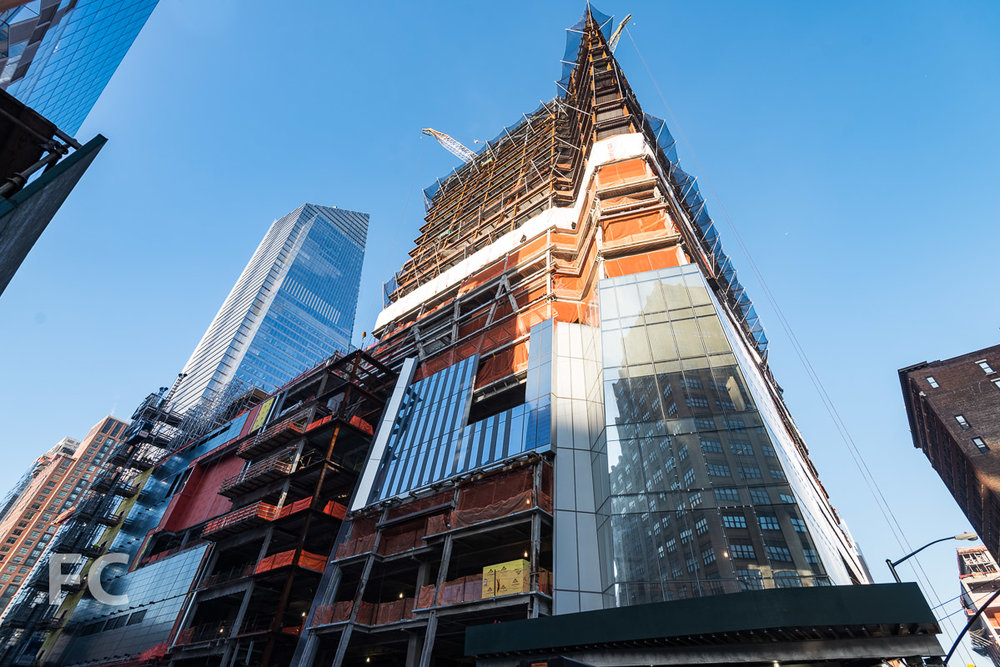 Looking up at the northeast corner of 30 Hudson Yards from 10th Avenue.