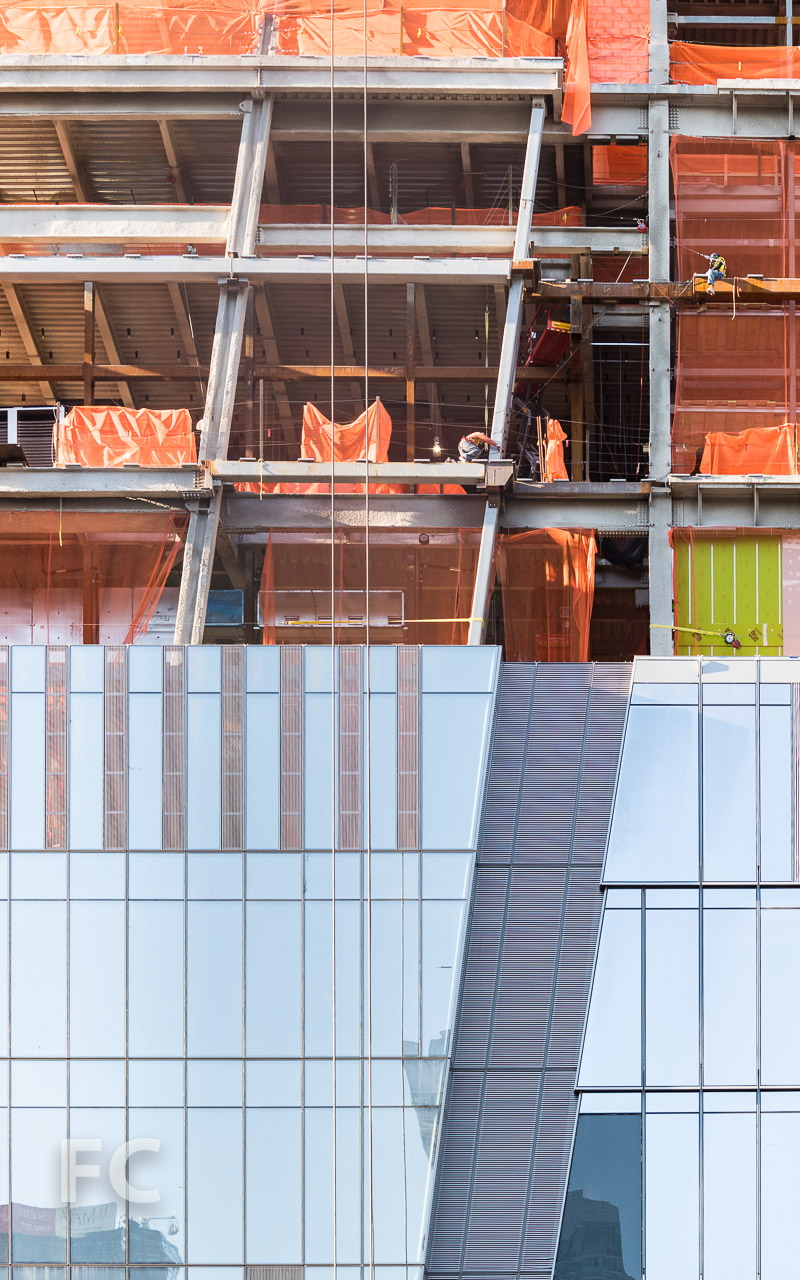 Close-up of the north façade of 30 Hudson Yards.
