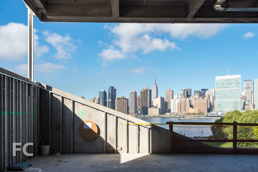 A view of the Manhattan skyline from a future glazed opening on the upper floor of the Children's Area.