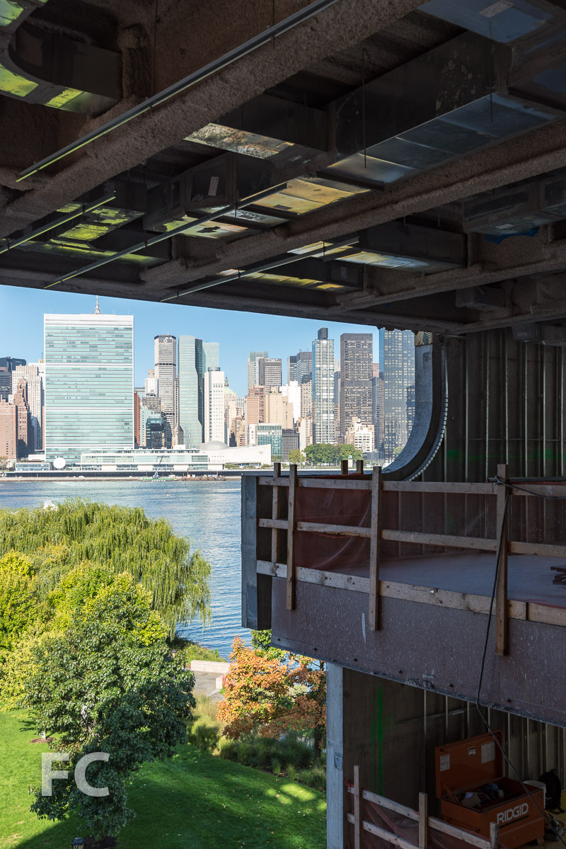 Staff office space with a view of the East River waterfront.