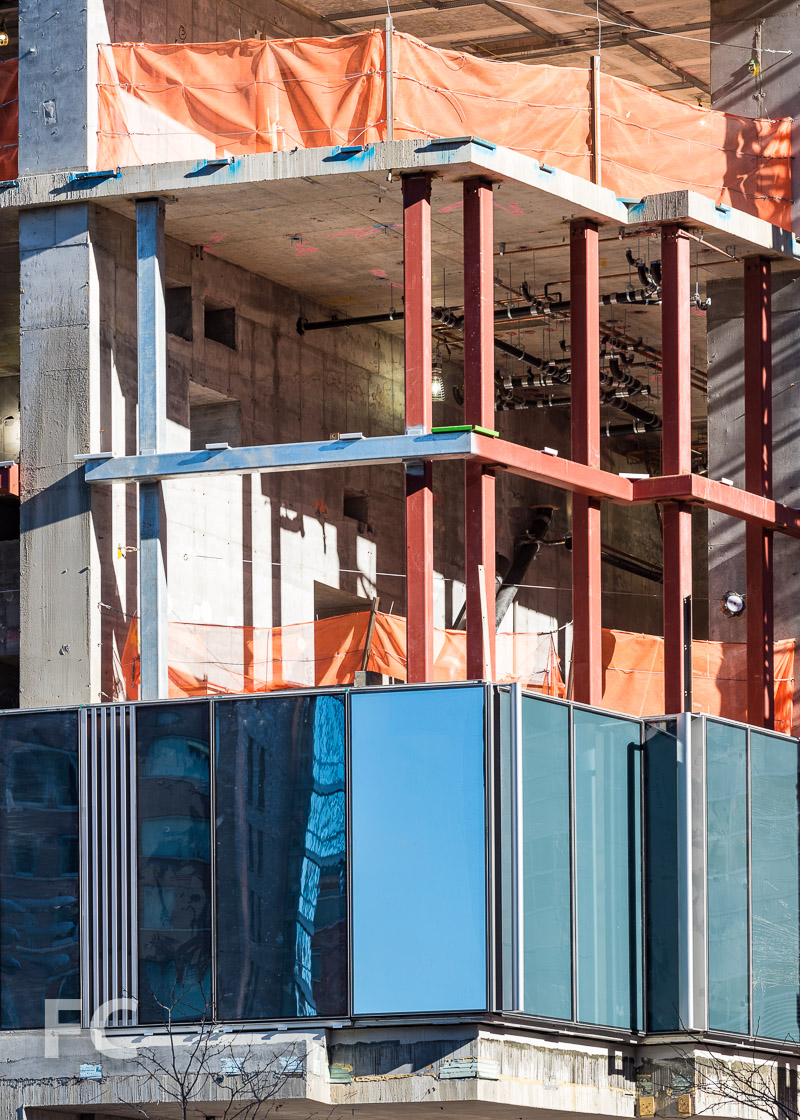 Close-up of the curtain wall panels at the southwest corner.