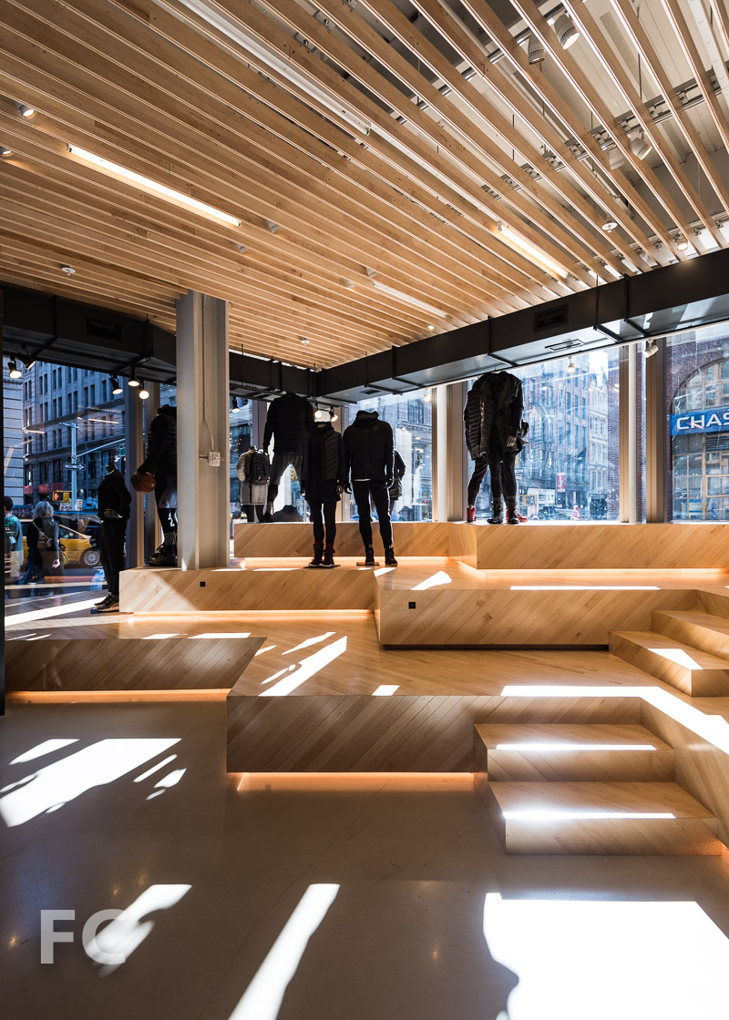 Seating at the Nike store entrance.