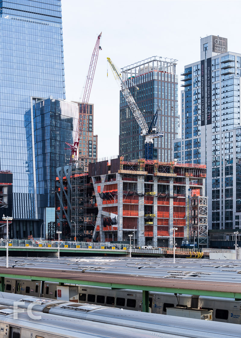 Northwest corner of The Shed (left) and 15 Hudson Yards (right).